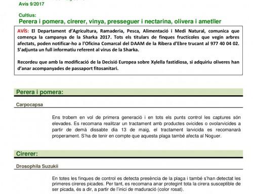 Avís del Servei de Sanitat Vegetal en data 12/05/2017