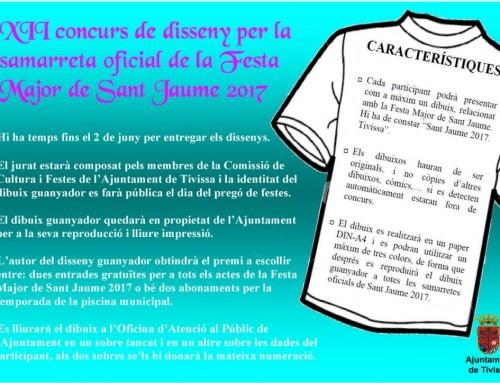 XII concurs de disseny per la camiseta oficial de la Festa  Major de Sant Jaume 2017
